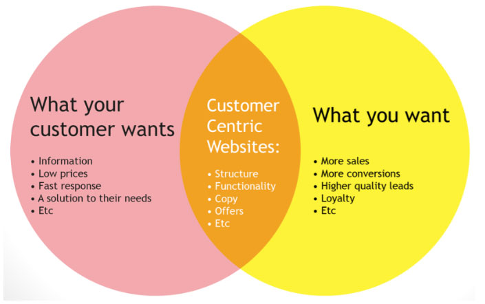 b2b website design-Venn Diagram showing customer centric website