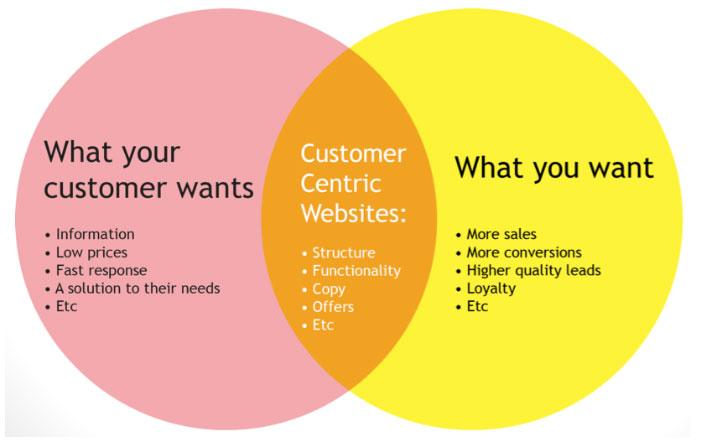 b2b website design-Venn Diagram showing customer centric website