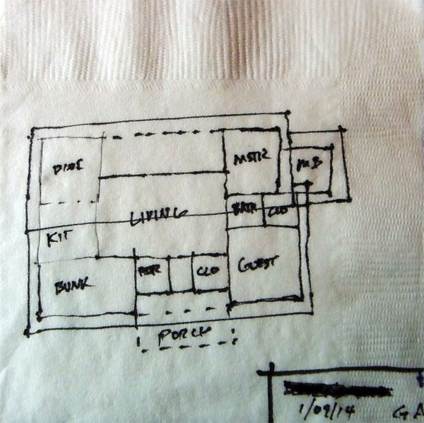 website wireframes, architects layout on napkin
