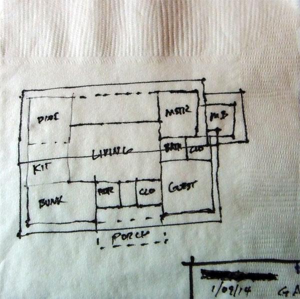 website wireframes, architects layout on napkin