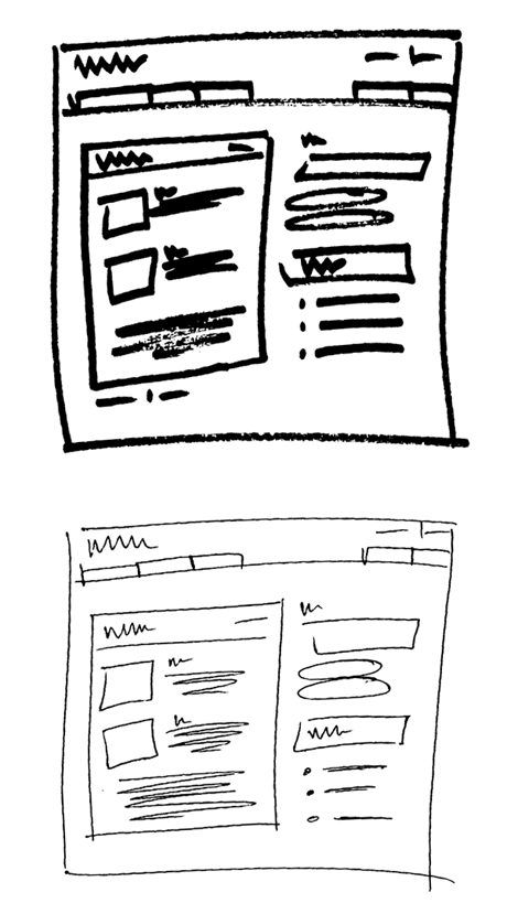 website wireframes hand-drawn with a sharpie