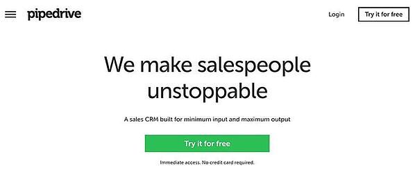 SaaS Marketing Pipedrive landing page
