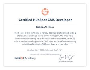 Diana-Zareiko-Hubspot-CMS-Certification
