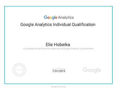 Elie Hobeika - Ggoogle Analytics Certification