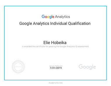 Elie Hobeika - Ggoogle Analytics Certification